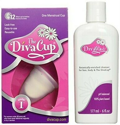 The Divacup Divawash Natural Gel Cup Cleansers 6 Oz & Model 1 Menstrual Cup -Kit