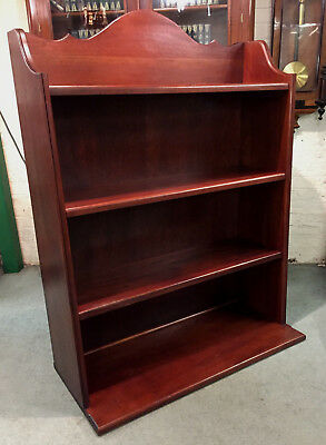 Quality Mahogany Shop Display, Open Bookcase Made From Antique Church Pews.