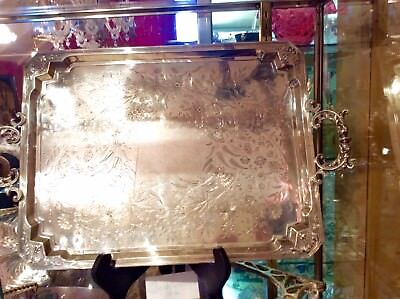 Antique Large French Sterling Silver Serving Tray Elegant