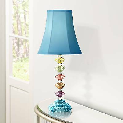 Bohemian Table Lamp Stacked Clear Colored Glass Teal Blue Shade For Kids  Room