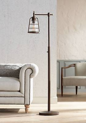 Rustic Farmhouse Floor Lamp Oil Rubbed Bronze Seedy Glass For Living Room