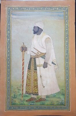 antique museum quality Islamic Deccan  Mughal miniature painting of 18th century