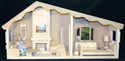 Woodworking plans for a 2 room Barbie Doll House with furniture