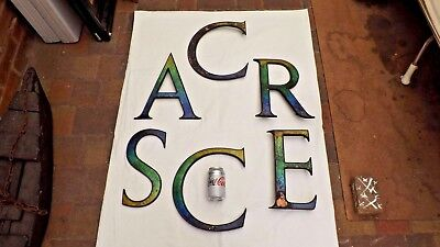 Rare Large Arts And Crafts Enamel On Copper Shop Front Letters