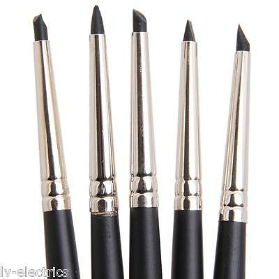 5 x Silicone Rubber Shapers Polymer Clay Sculpting Fimo Modelling Tool Brushes
