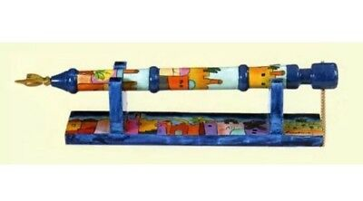 Yair Emanuel Hand Painted Wooden Yad - Torah Pointer With Stand Jerusalem Design
