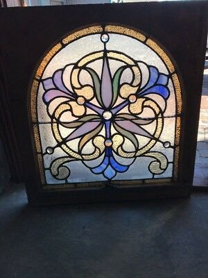 Sg 2025 Unique Antique Stained Glass Jeweled Window Arch 28.75 X 30.5