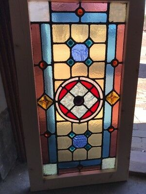 Antique Jewelry Victorian Stain Glass Transom Window 19 X 34.5