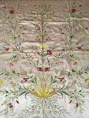 HUGE AMAZING ANTIQUE ARMENIAN SILK HAND EMBROIDERY ON SILK BED COVER 200cm