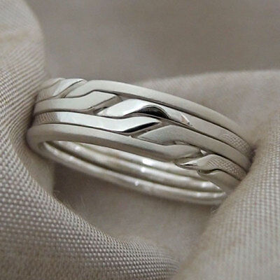 (RONRING 5 MATTE) Unique Puzzle Rings - Sterling Silver - Any Size