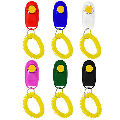 Animal Dog Cat Puppy Kitten Pet Training Clicker Obedience Aid + Wrist Strap UK