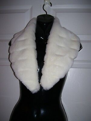 """Wide Collar White Faux Fur Apparel Accessory 34"""" for Long Coat Jacket Sweater"""