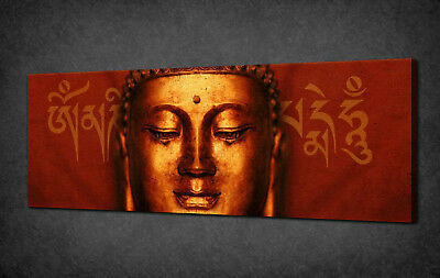 Bronze Buddha Red Panoramic Canvas Print Picture Wall Art Variety Of Sizes