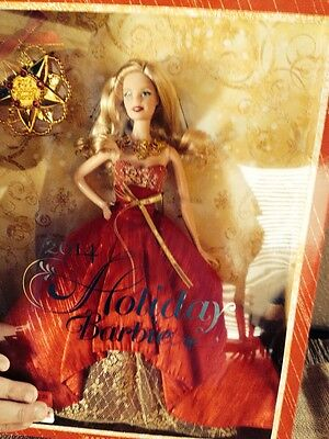 2014 Holiday Barbie Doll NEW, red dress blonde beautiful