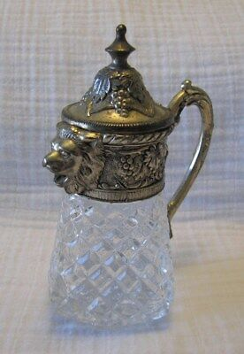 Silver-Tone & Crystal Lion Head Spout Creamer,Decanter or Salad Dressing Pitcher
