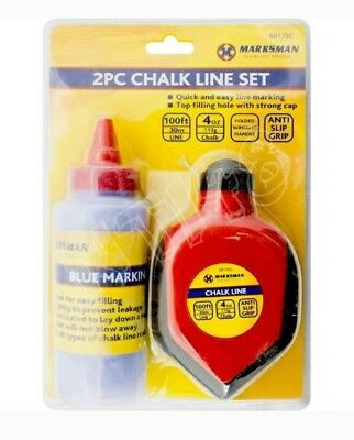 2Pc Builders Chalk String Line Kit Reel Set 30M (100Ft) 4Oz Blue Chalk Marker Bn