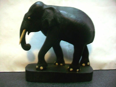 Hand Carved Elephant W Tusks Pedestal Base Figurine Animal Sculpture Collectible