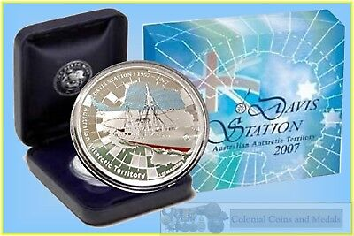 """2007 """"Davis Station"""" Australian Antractic Territory 1oz. Silver proof Coin"""