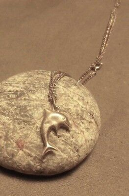 Vintage Dolphin Shabby Chic Silvery Necklace 1970s- NZ Antique Estate