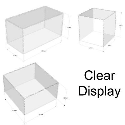 Clear Acrylic Plastic Dustproof Display Case Box 5 Sided Protection