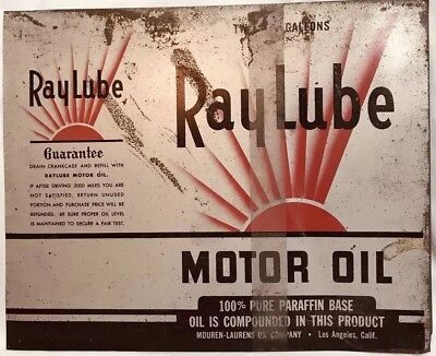 Vintage Ray Lube Heavy Duty Motor Oil Metal Can Two Gallon Sign Rare Original