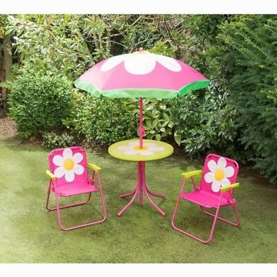 4pc Kids /  Childrens Patio Set - Flower  Foldable Chairs