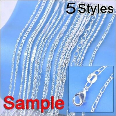 "Lot 5/2Pcs 925 Silver Mixed Necklace Chain Mixes Size 16-30"" Unisex Set Jewelry"