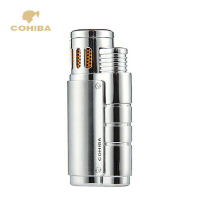 COHIBA 3 Torch Flame Jet Cigar Cigarette Lighter W/Punch Silver