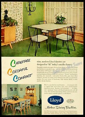 1956 Lloyd MID-CENTURY MOD Laminate Dinette Kitchen Dining Table Chairs Vtg AD