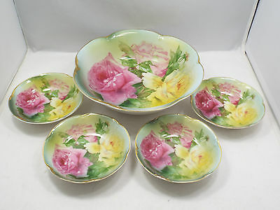 Antique JHR Bavaria Alice Hand Painted Roses Serving Bowl & 4 Small Bowls