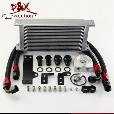19 Row Engine Oil Cooler Kit w/Filter Adapter For WRX STi 06-07 EJ20 EJ25 Silver