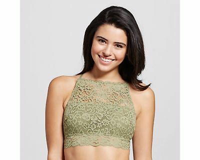 9a1afe0c1ee25 Women s Lace High Neck Bralette Xhilaration wireless T-back Pullover Green  XS