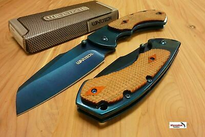 "8"" WARTECH Blue Spring Assisted Open Folding Pocket Knife CLEAVER RAZOR Wood"