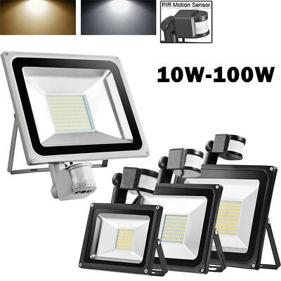 10W 20W 30W 50W 100W LED Flood Light PIR Motion Sensor Outdoor Security Lamp