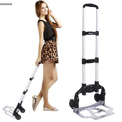Cart Folding Dolly Push Truck Hand Collapsible Trolley Luggage Aluminium 220 lbs