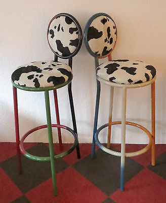 2 x Bar Stool Retro Design Individual Pieces Powder Coated with Cowhide Stool