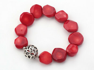 FAB Chunky 14x18mm Red Coral Bracelet with Silver Ball