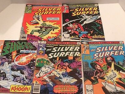 Marvel The Silver Surfer Comic Book Lot Of 5 Comics Good Condition