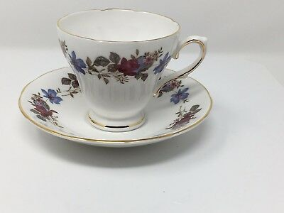 Royal Sutherland Fine Bone China Tea Cup And Saucer Set - Floral Staffordshire