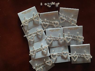 JOB LOT-10 pairs of crystal diamonte hair grips+0.4cm stud earrings.Silver plate