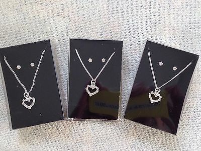 "JOB LOT-3 sets of diamonte hearts+0.4cm earrings+17"" chain.Gift boxed.Silver pl."