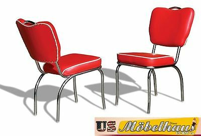 CO-26 Red Bel Air Furniture 2 Chairs Diner Kitchen in the Style of 50 Piece