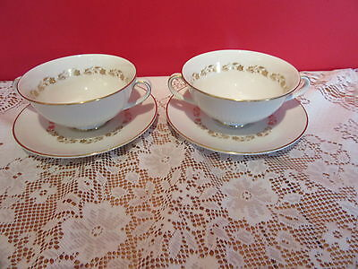 Lovely Vintage bone china Royal Doulton Fairfax two handled  Soup Bowl & saucers
