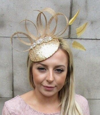 Gold Sinamay Feather Pillbox Hat Fascinator Races Wedding Cocktail Sequin 5427