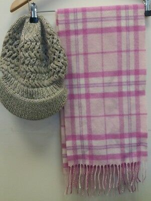 Ladies Hat And Scarf Pink Accessorize <J7884