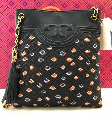 33b0c3042b35 TORY BURCH Fleming Swingpack Leather Print Crossbody Shoulder Bag  Navy Fiori New