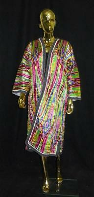Long Traditional Uzbek Tajik Handmade Natural Silk Colorful Chapan Kaftan L341