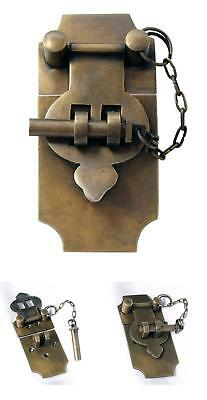 4 Inch Large Antique Style Trunk Hasp/Latch with Chain Pin by Nesha Solid Brass