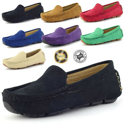 Boy's Slip On Casual Loafers  Round ductile Toe Flats Genuine Suede Shoes