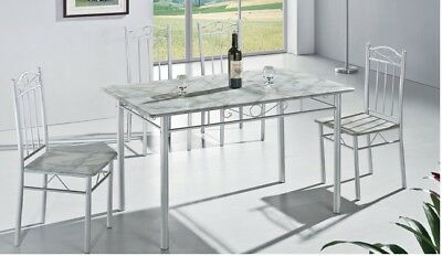 Elegant White Kitchen Dining Table with 4 Chairs 5 Piece (RRP £99.99)